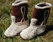 Crocheted Cowboy Cowgirl Boot Booties Tan and Brown Size 3  Baby Shoe
