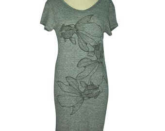 Eco Grey Japanese Triple Kingyo, Goldfish Screen Printed Lakeside T-Shirt Dress, Women - Gifts for Her, Limited Stock, Handprinted