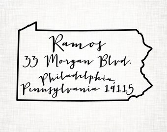 Pennsylvania Personalized Return Address State Stamp