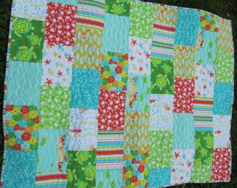 Sea Buddies - Michael Miller - Baby Boy, Toddler, Crib Quilt