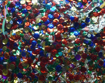 Huge Gallon Bag of Assorted SEQUINS and Tiny Beads Weighs 1.7 lbs.