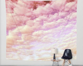 Cotton Candy Sky - Wall Tapestry, modern, home decor, nature, fine art, photography, inspirational, dreamy, cloud, soft, wedding, garden