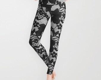 Black Lace Leggings, Black Lace Print Yoga Pants, Unique Fashion, Black Yoga Leggings, Women, Teen Active Wear, Running Pants, Jogging Pants