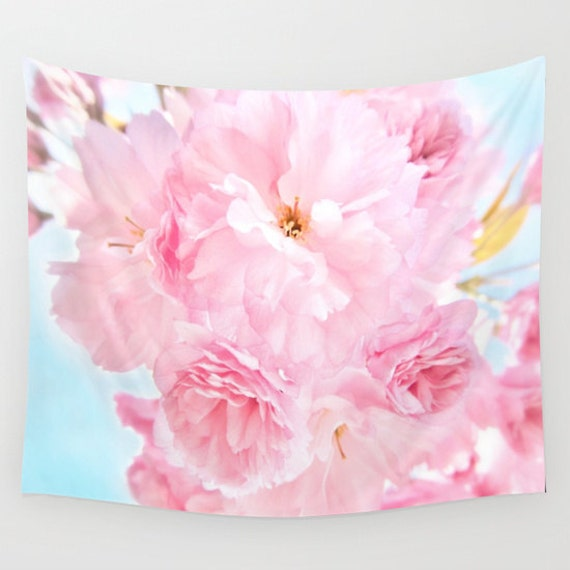 Peony Wall Art soft blue sky with pink peonies wall tapestry large wall art