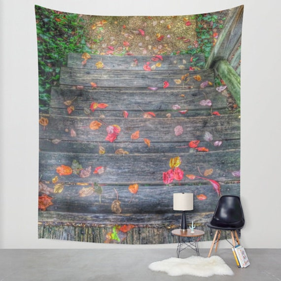 Woven Leaves Wall Decor : Fall leaves tapestry garden steps large wall decor