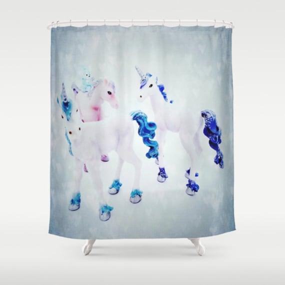 Unicorns shower curtain fantasy bathroom toy home decor for Fantasy shower curtains