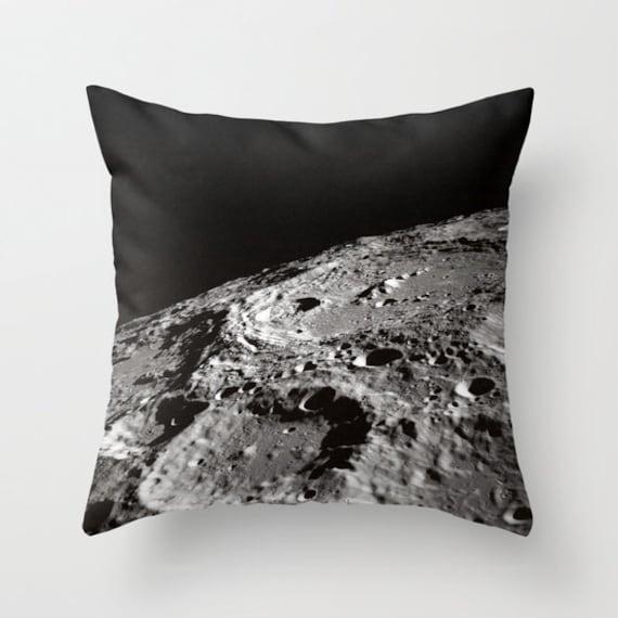 Moon Throw Pillow, Lunar Pillow, Craters Pillow, Moon Decor, Space Decorative Pillow, Nature Cushion, Black White Pillow, Dorm, Office