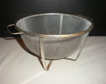 Vintage Wire Mesh Colander or Kitchen Strainer with Handles