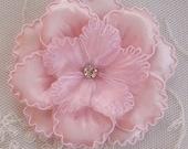 2 pc PINK Satin Organza Ric Rak Flower Applique w rhinestone Baby Bonnet Doll Hat Bridal Christening Corsage