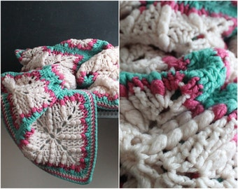 Vintage Hot Pink and Turquoise Afghan Throw, Baby Blanket, Crochet, Modern