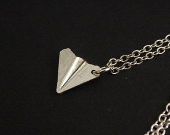 silver tone paper aeroplane necklace