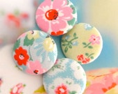 "Fabric Buttons, Large Shabby Pink Light Blue Yellow Red Floral Flower Rose Fabric Buttons, Large Floral Fridge Magnets, Flat Back, 1.25"" 4's"