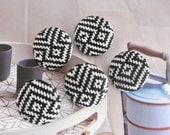 Black White Tribal Ethnic Geometric Fabric Covered Buttons, Black White Tribal Prints Fridge Magnets, Flat Backs, CHOOSE SIZE 5's