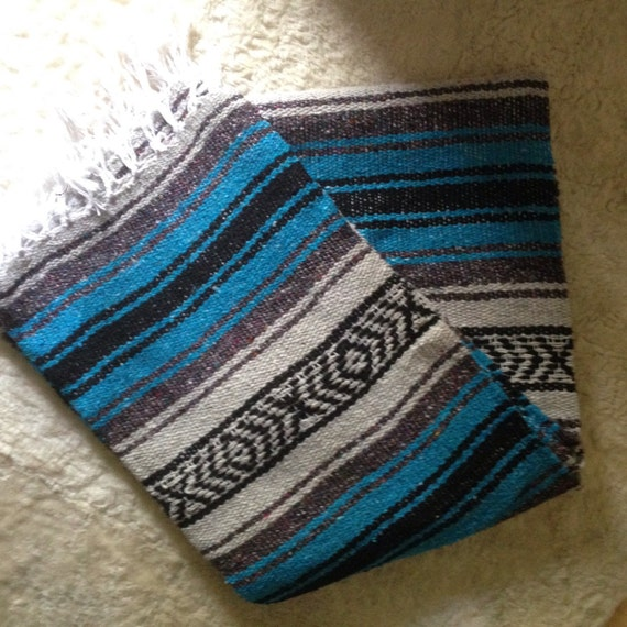 Vintage Serape Mexican Saltillo Blanket Rug Turquoise