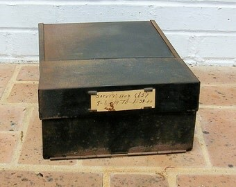 Antique Vintage Safety Deposit Box Drawer Antique Vintage Metal Safety Deposit Drawer Industrial Drawer