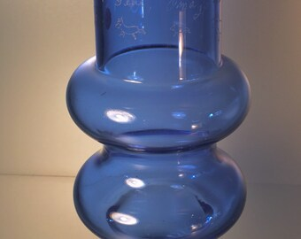 Tamara Aladin Blue glass Vase Finland 1960s etched with...