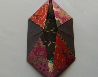altered book objects - interactive origami photo pouch - chocolate with gold and orange accents