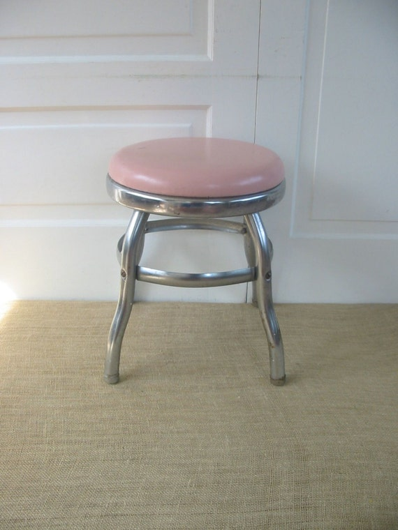 Vintage Metal Stool Pink Industrial Round Milking Retro
