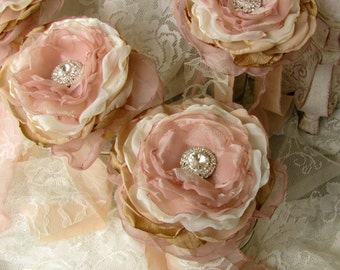 Bridesmaid Fabric Single Flower Bouquet with Rhinestone One Flower Caramel/Champagne/ Ivory,Vintage style bouquets,