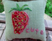 Berry Cute Hand Embroidered Mini Pillow Ready to Ship