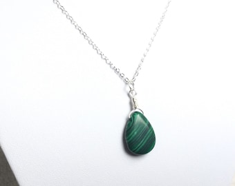 Malachite and Silver Necklace, Personalized Necklace, Malachite Necklace