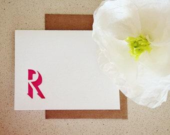Custom shadow monogram letterpress stationery