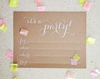 Modern kraft fill-in letterpress party invitations