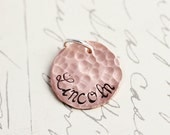Copper Name Charm - Mom Charm - 5/8 Inch Stamped and Hammerd