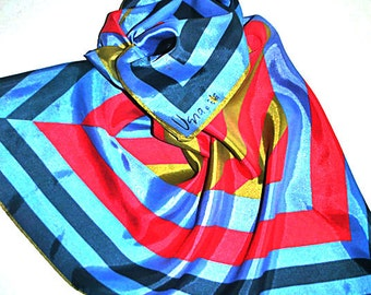Lady bug Vera's vintage 60s, multicolor stripes square scarf.Free shipping