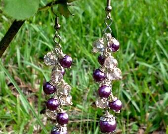 Handmade/Crafted Pearl & Glass Beaded Earrings