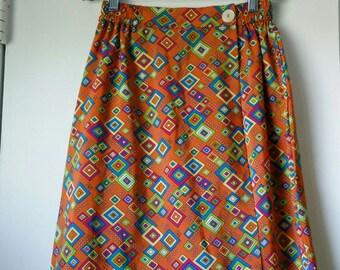 Vintage orangy geometrical skort