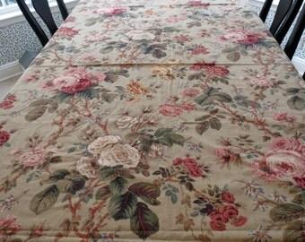 Waveryly Natasha Cotton Fabric - Floral Vintage Style, Linen Texture