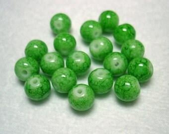 Lime Green Splashed Glass Round Beads (Qty 18) - B2809