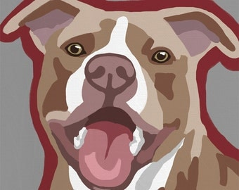 Red Nose Pitbull Pop Art Dog Painting Print Colorful