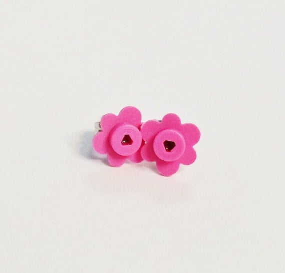 Pink Flower Earring Studs LEGO® Bricks, LEGO® Gift