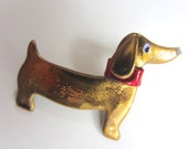 Dachshund Pin with red collar brooch