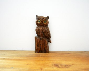 vintage 70s Spooky Carved Wooden Hoot Owl Yellow Eyes Wooden Wall Hanging