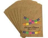 "Wedding Favor Candy Bags - Vintage Antique Rustic Mexican Folk Wedding ""Pico de gallo papel"" Candy Buffet Bags Treat Bags Thank You Bags"