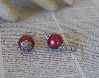 Handmade Burgundy Pearl and Silver Bead Cap Dangle Earrings - AS