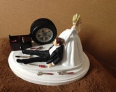 Cake Topper Wedding Day Bride Groom Funny  Auto Mechanic Grease Monkey Themed Automotive Garage Shop Tools