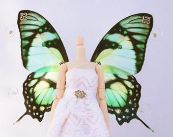 1/6 OOAK Butterfly wings for Dolls - Orion - Green Silver