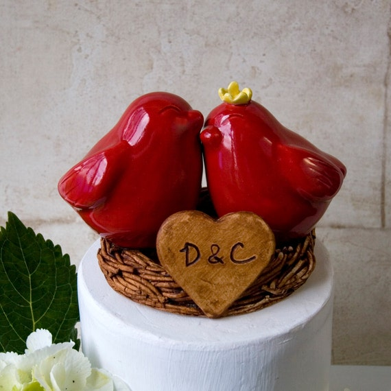 Red Love Bird Wedding Cake Topper