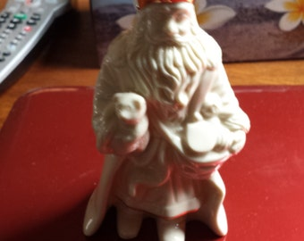 "Lenox Santa White and Gold trim around head  5"" tall"