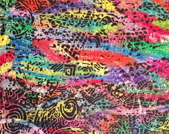 vintage etching - abstract rainbow mixed media scratch art print - Gail Bowden