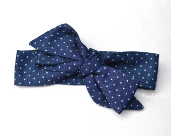 Chambray Fabric Bow Headwrap or head wrap -  headband for toddlers - headband for infants - baby headband - topknot headband
