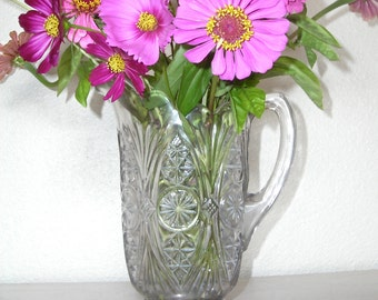 vintage glass pitcher for serving drinks or to hold flowers - shabby chic cottage decor - ornate hollywood regency