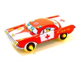 60s Tin Toy car, Vintage red emergency vehicle, KINKYU.