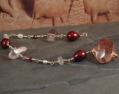 Burnt Waves Links Collection Bracelet - Rose Gold - Silver - Lepidocrosite - Garnet - Freshwater Pearl - One of a Kind
