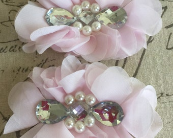 FLOWERS-TEARDROP Rhinestone and Pearl Center Light PINK set of 2-4.5 x 3.5 inches wide