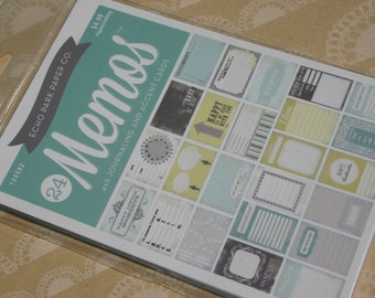 Echo Park Designer Cards - Project Life Style Cards - Memos - Scrapbook Embellishments - One Package